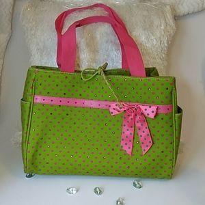 Handbags - EUC Lime Green & Pink Polka Dot Tote Bag
